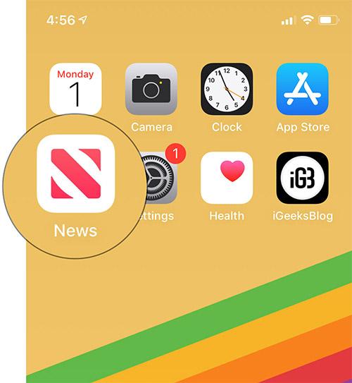 Open Apple News app on iPhone