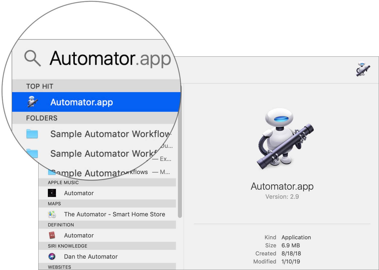 Open Automator app using Spotlight Search on Mac