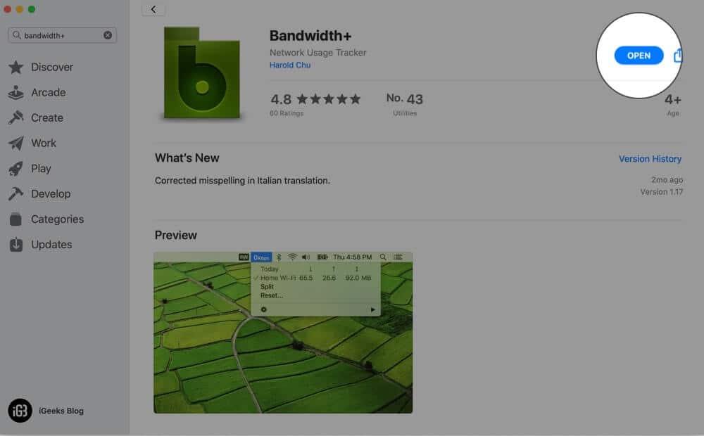Open Bandwidth Plus App on Mac