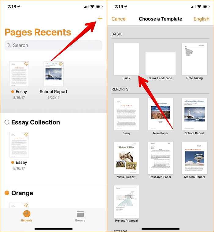 Open Blank Template in Pages App on iPhone or iPad