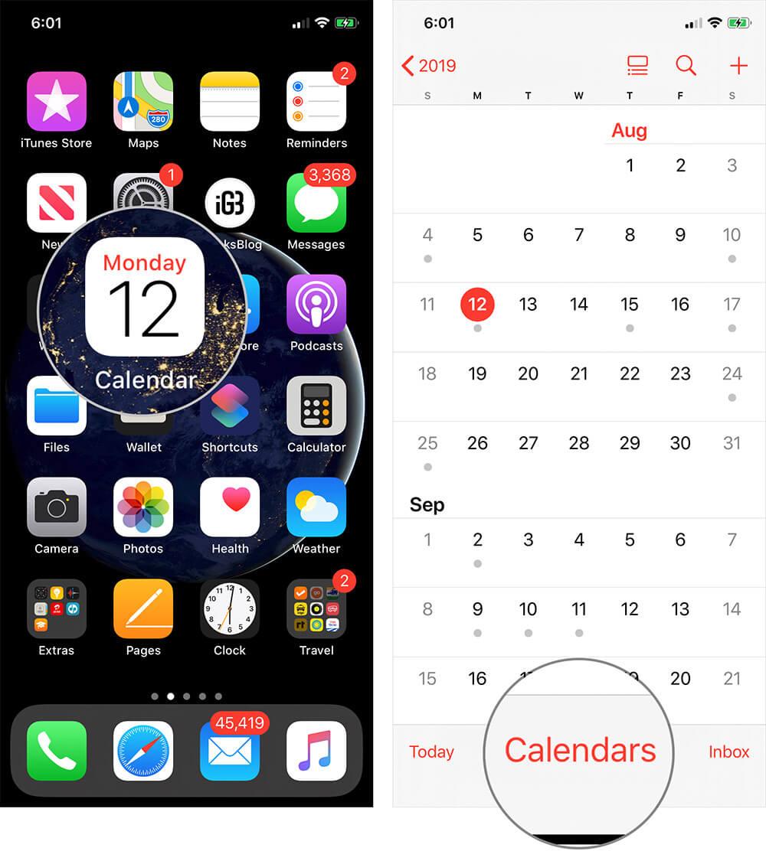 Open Calendar App on iPhone or iPad