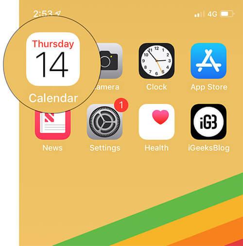Open Calendar app on iPhone