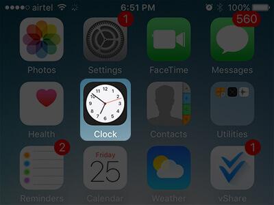 Open Clock App on iPhone