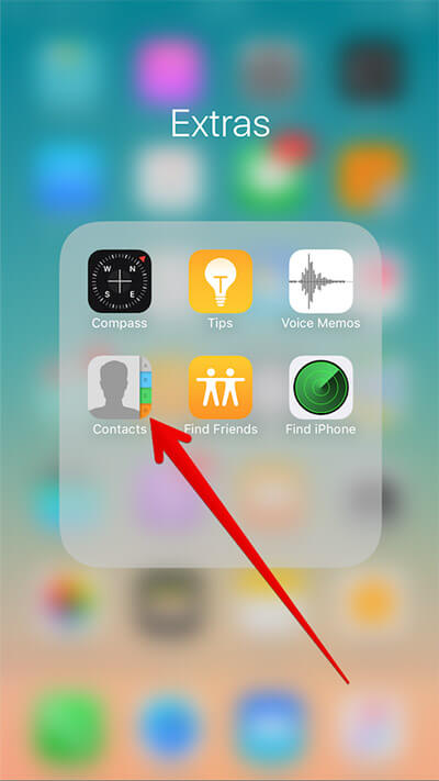 Open Contacts App on iPhone