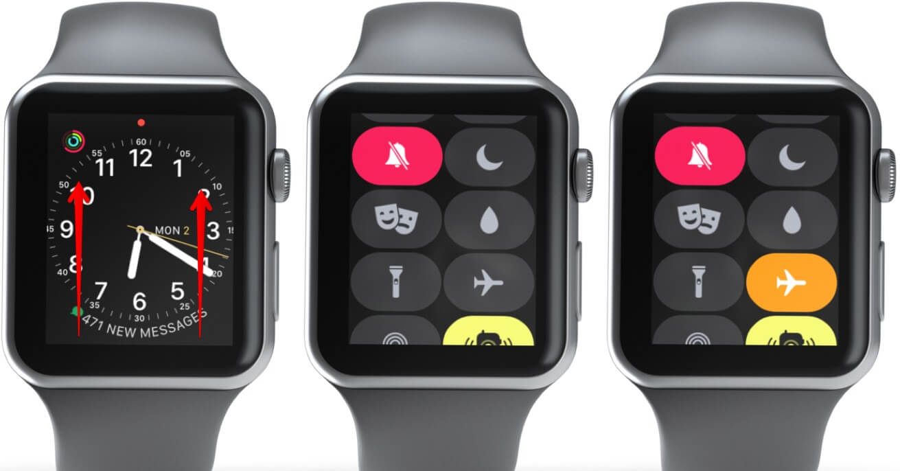 Open Control Center and Enable Airplane Mode on Apple Watch