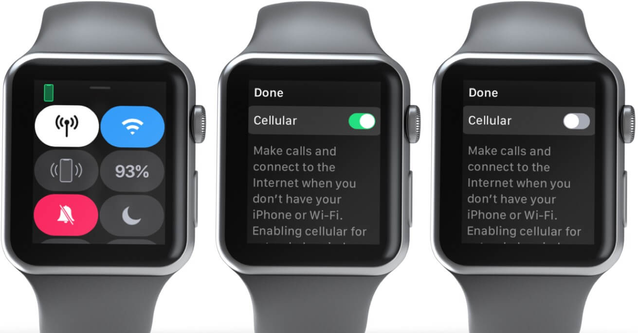 Open Control and Disable Cellular on Apple Watch