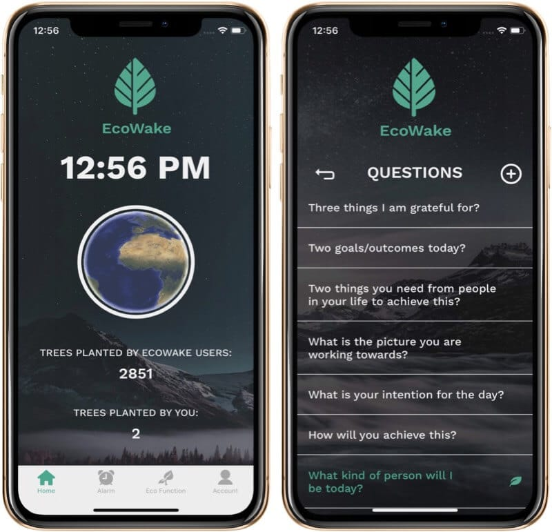Open EcoWake App and Set Questions on iPhone