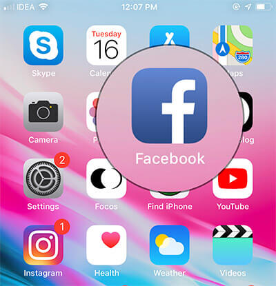 Open Facebook app on your iPhone