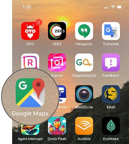 Open Google Maps on iPhone