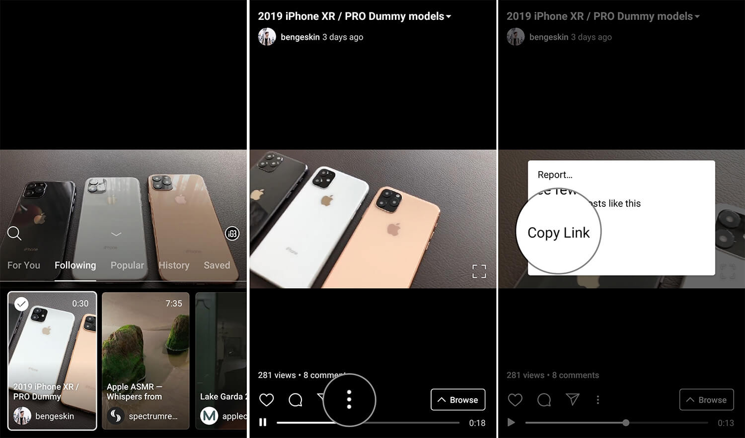 Open IGTV Video you wish to Download on Android, Tap on Three Dot and Copy Link