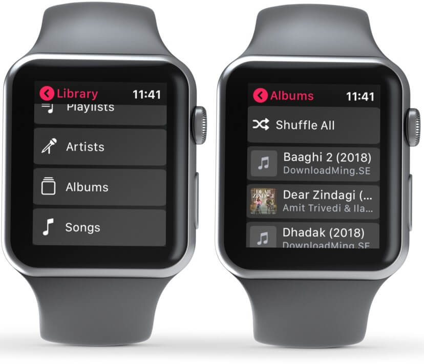 Open Library and Select Preferred Option to Play Music on Apple Watch