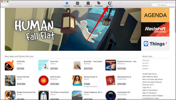 Open Mac App Store and select Updates tab