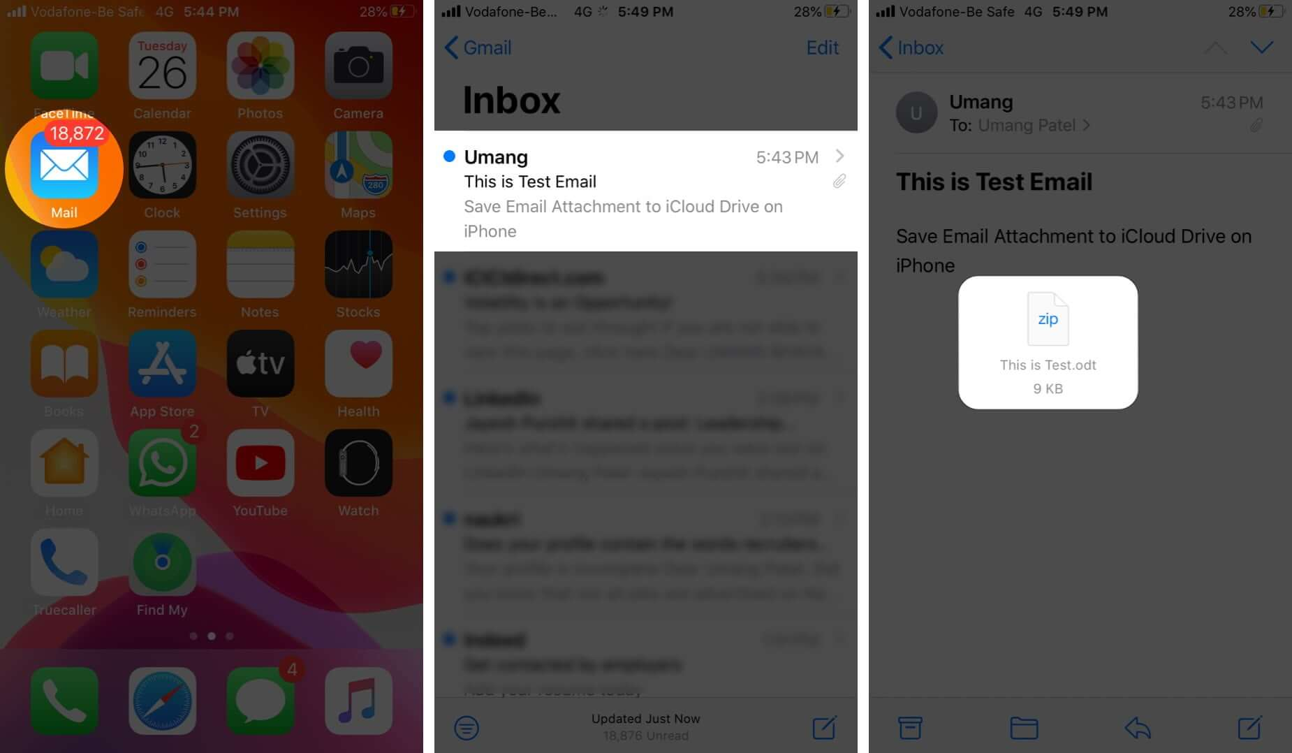 Open Mail App Tap on Email and Then Tap on Attachment on iPhone