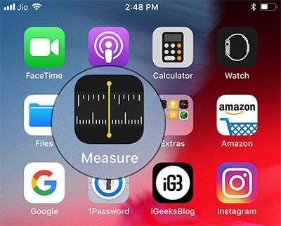 Open Measure App on iPhone