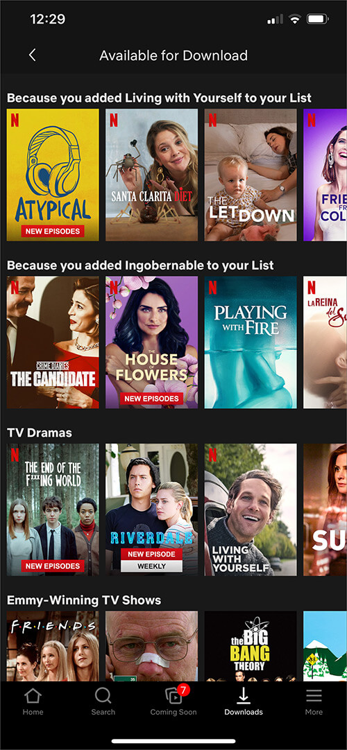 Open Movie or TV episode You Want to Download from Netflix App on iPhone