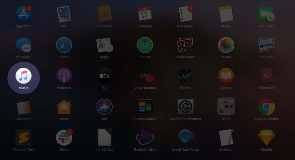 Open Music App on Mac