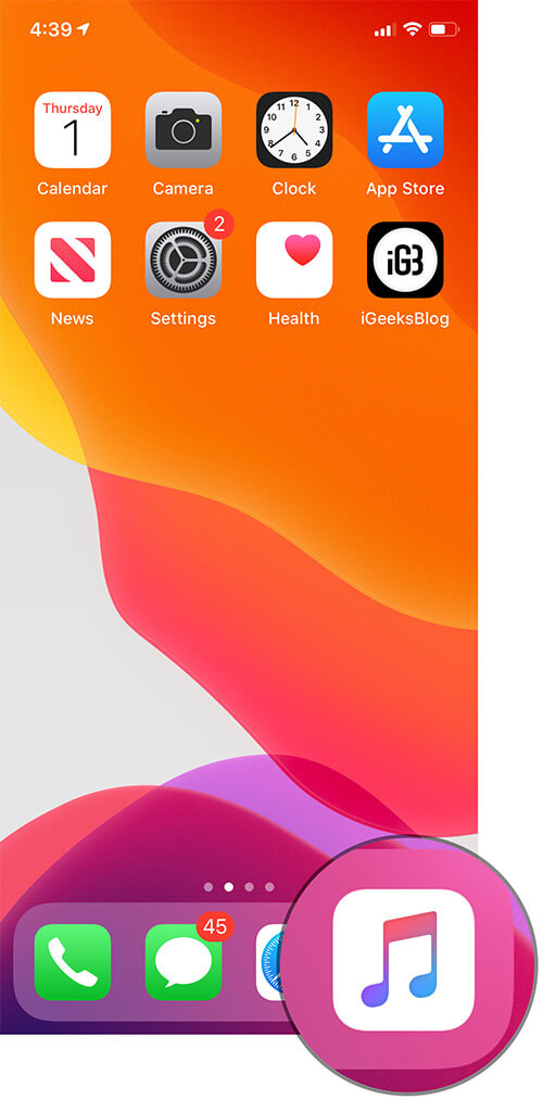 Open Music App on iPhone or iPad