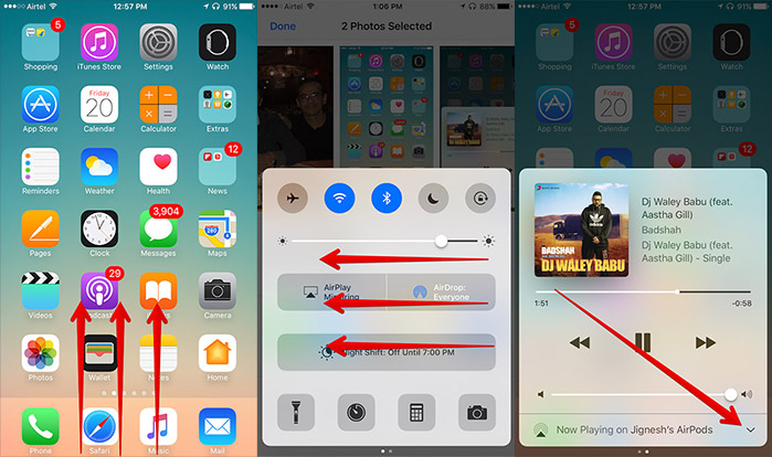 Open Music from Control Center on iPhone
