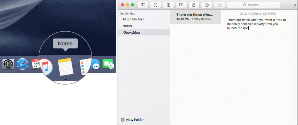 Open Notes app on Mac and select the note you want to export