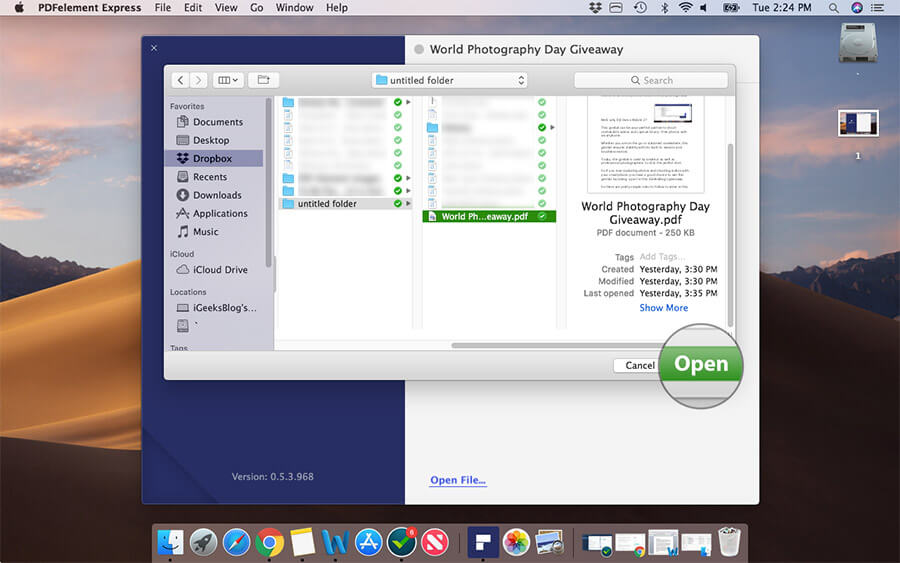Open PDF File You Want to Edit on Mac