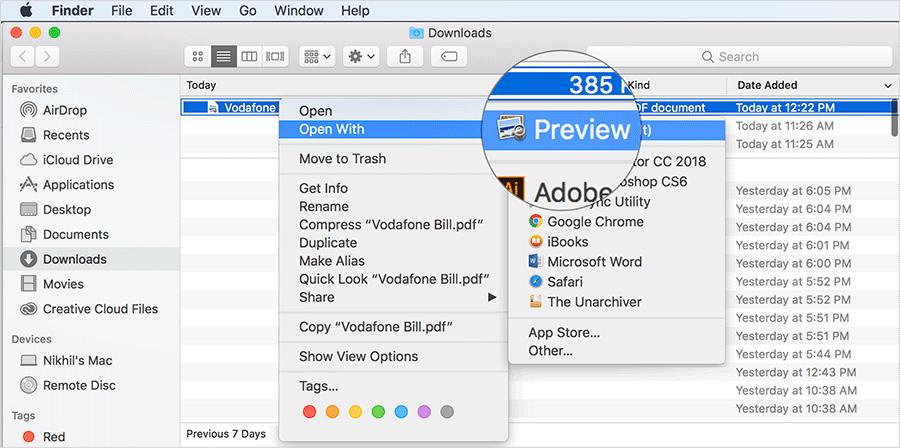 Open PDF File in Preview App on Mac