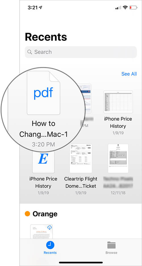 Open PDF file which password you want to remove on iPhone