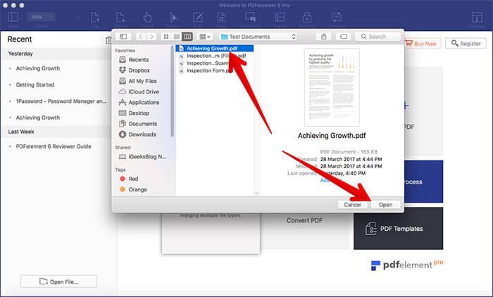Open PDF in PDFElement 6 on Mac