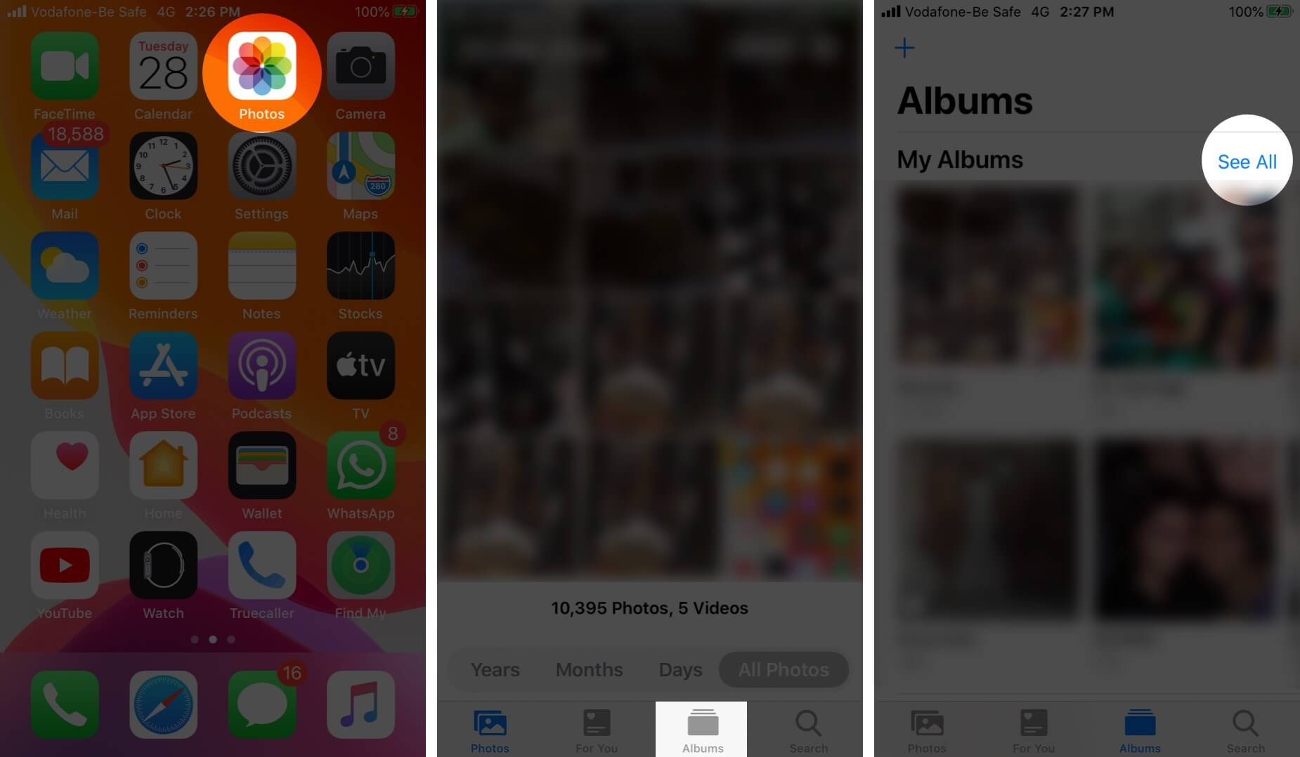 Open Photos App Tap on Albums and Then Tap on See All
