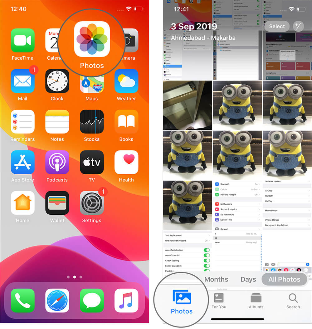 Open Photos App and Tap Photos in iOS 13 on iPhone