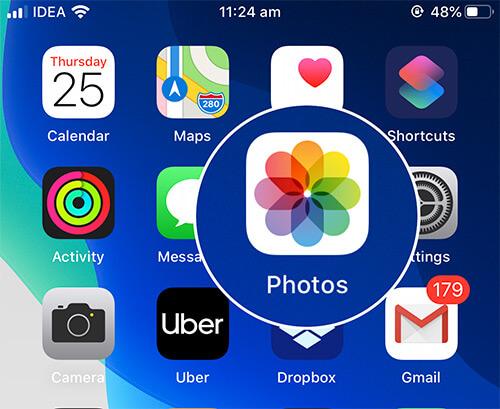 Open Photos App on iPhone in iOS 13