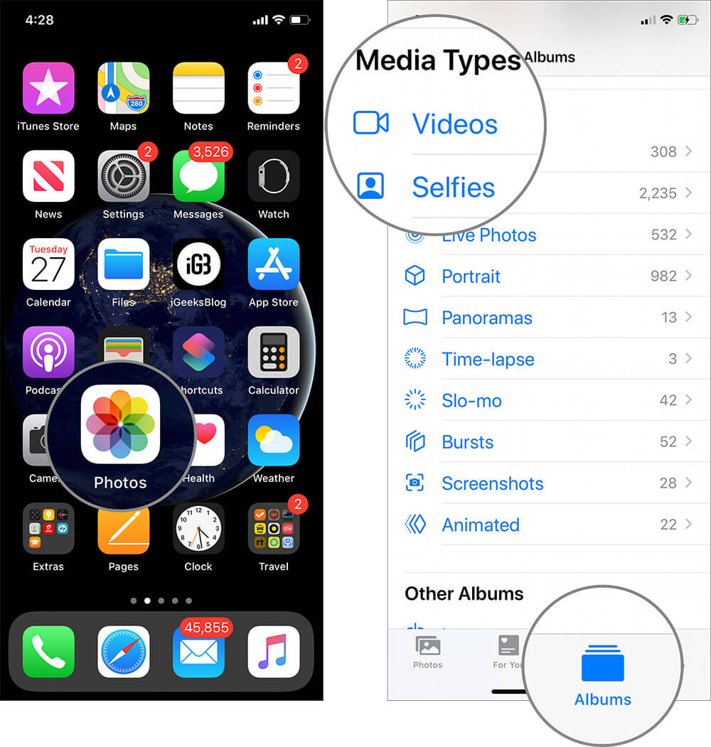 Open Photos App then Tap on Album Tab and Tap on Video on iDevice