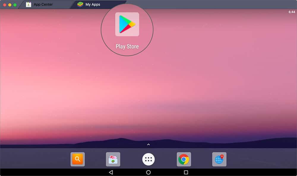 Open Play Store in BlueStacks on Mac