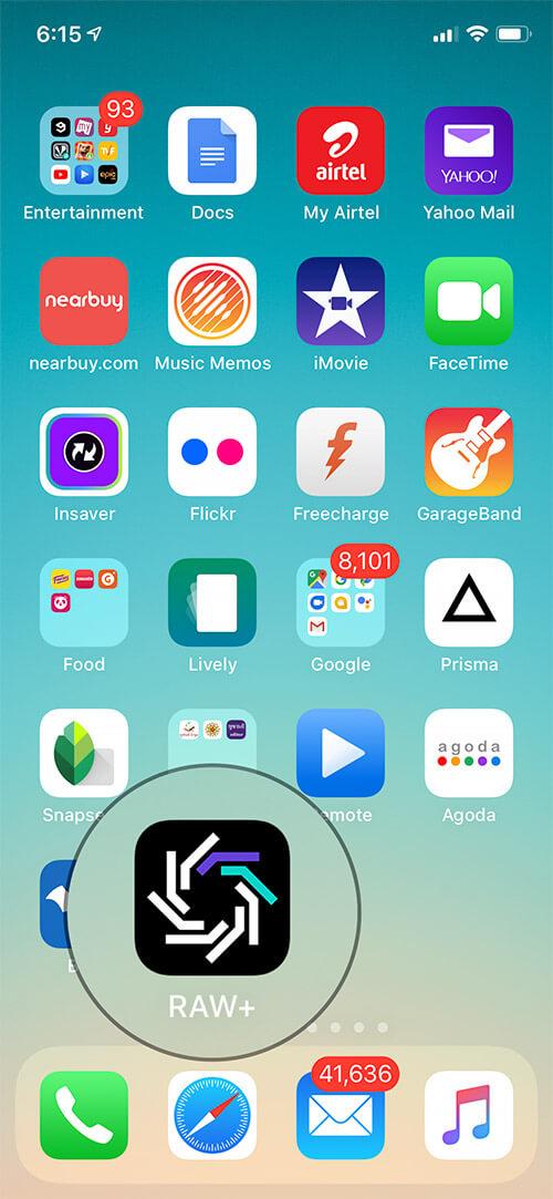 Open RAW Plus App on iPhone