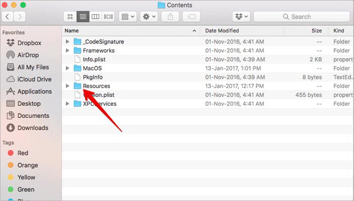 Open Resources Folder on Mac