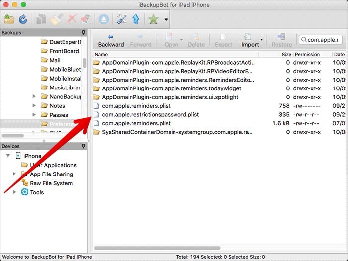 Open Restrictionpassword.plist on Mac