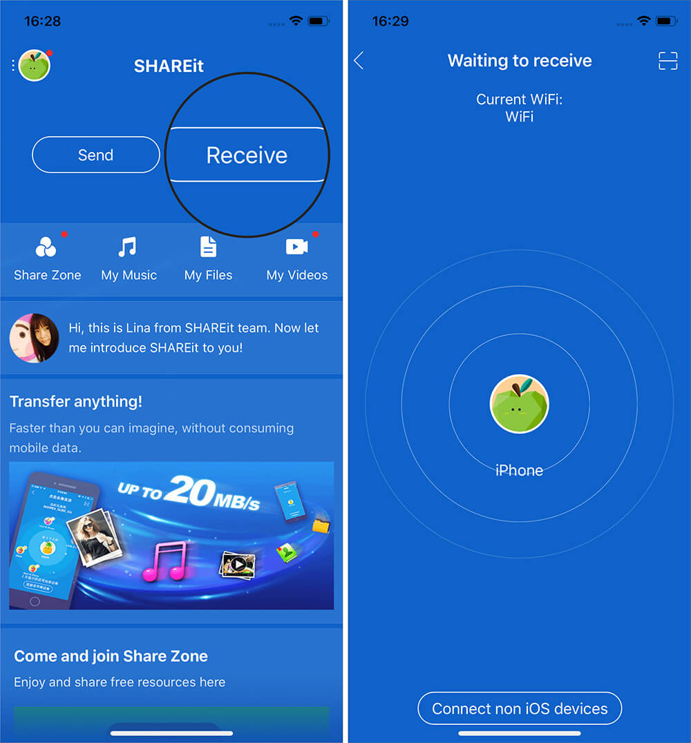 Open SHAREit App and Tap on Receive on iPhone