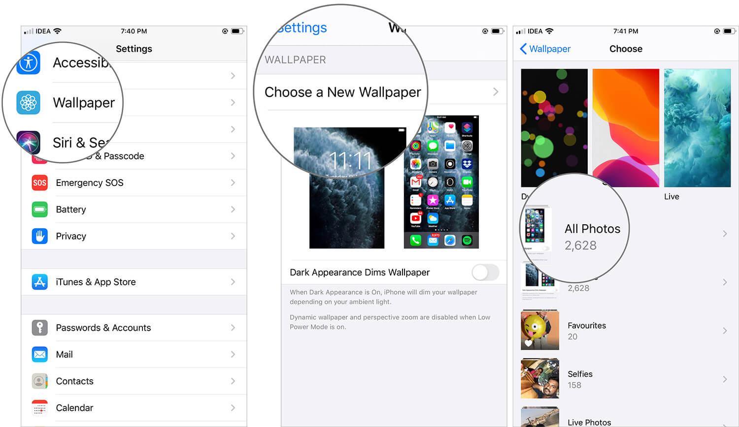 Open Settings App and Choose Your Wallpaper on iPhone