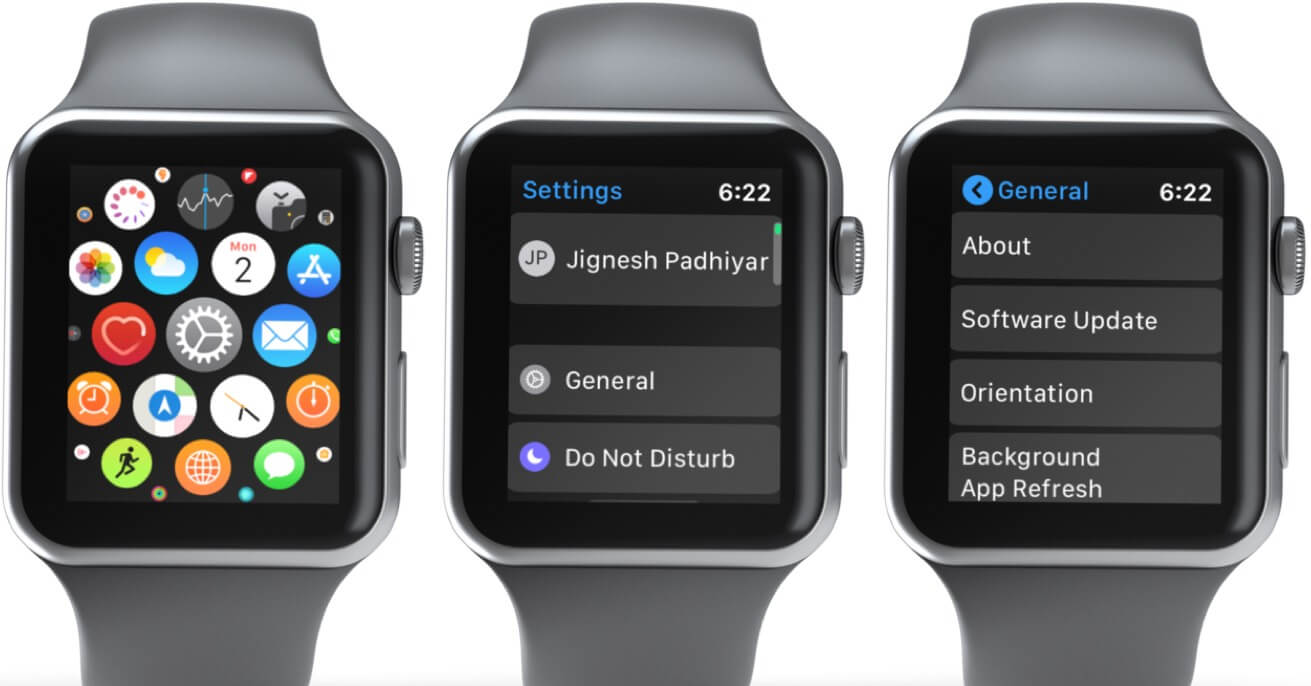 Open Settings App and Select Genertal and Tap on Software Update on Apple Watch