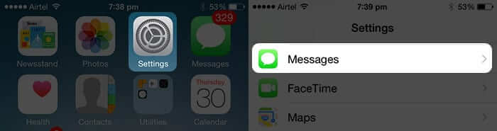 Open Settings App and Tap on Messages