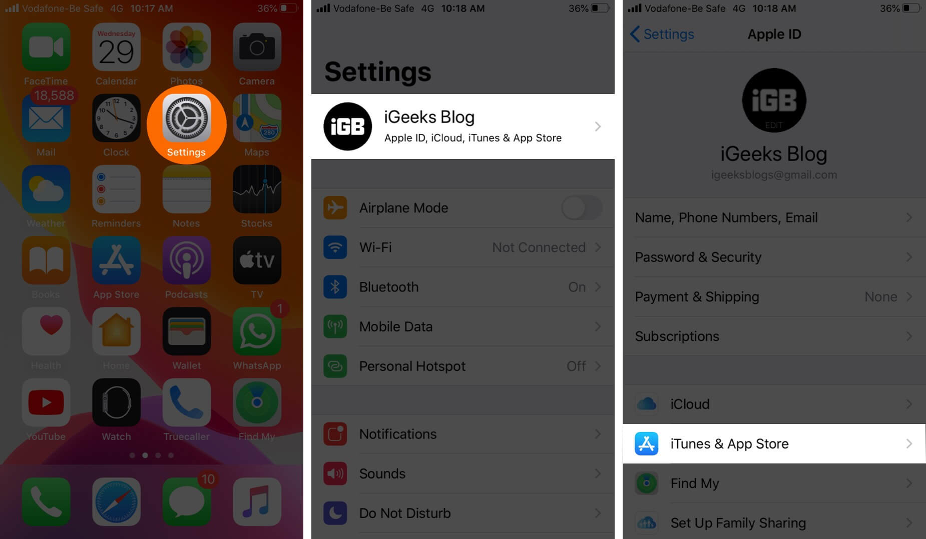 Open Settings Tap on Profile and Tap on iTunes & App Store