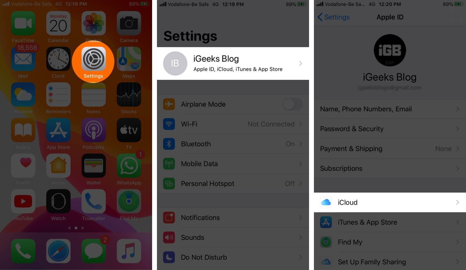 Open Settings Tap on Profile and Then Tap on iCloud on iPhone