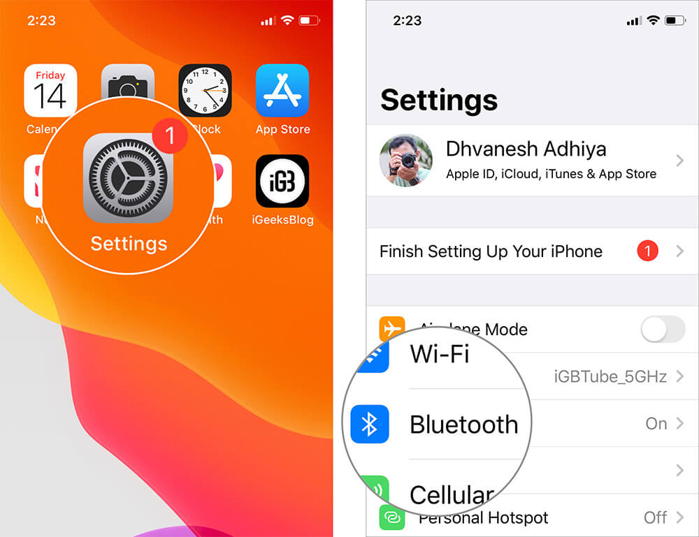 Open Settings and Tap on Bluetooth in iOS 13
