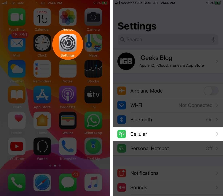 Öffnen Sie die Einstellungen und tippen Sie auf dem iPhone auf Mobilfunk