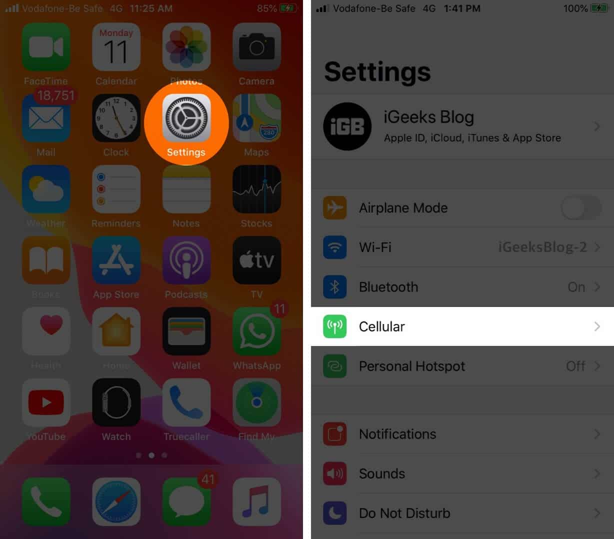 Open Settings and Tap on Cellular