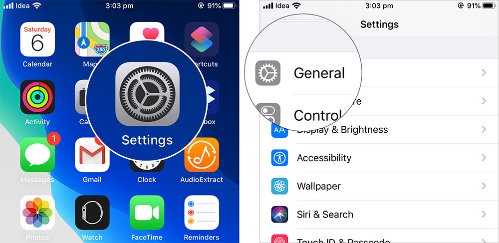 Open Settings and Tap on General in iOS 13