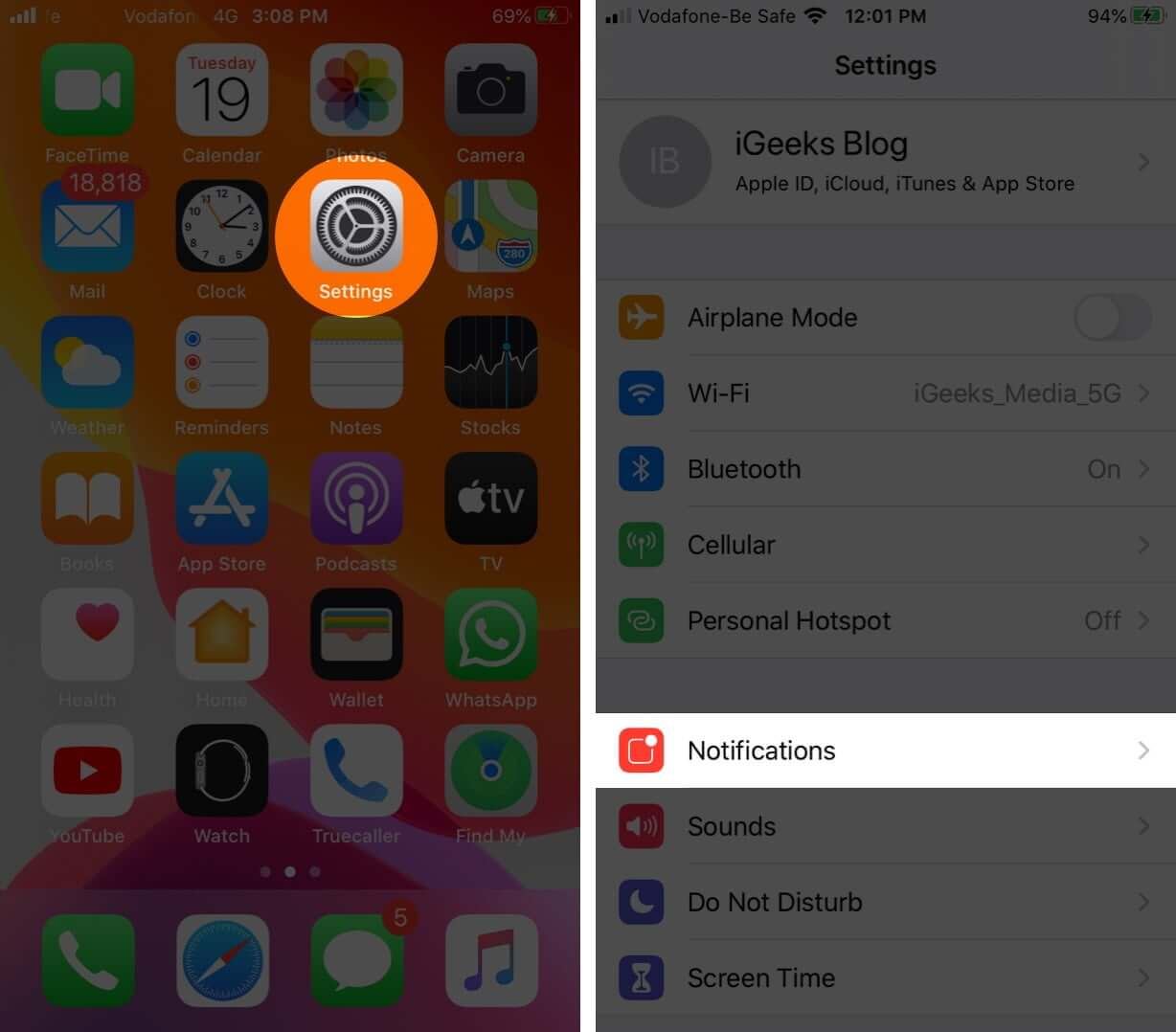Open Settings and Tap on Notifications on iPhone