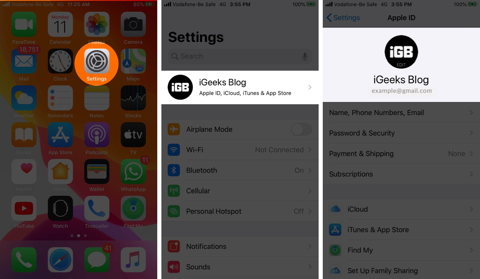 Open Settings and Tap on Profile to View Apple ID on iPhone