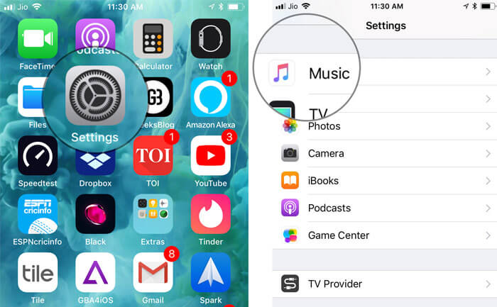 Open Settings app on iPhone and then select Music