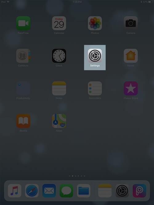 Open Settings on iPad running iOS 11