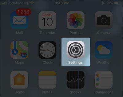 Open Settings on iPhone